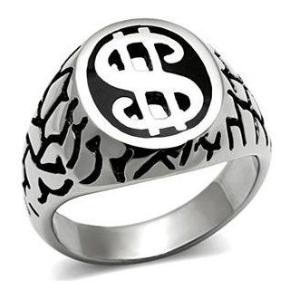 Size 11 High Polish Plated Dollar Sign Men's Stainless Steel Dome Ring AM Jewelry