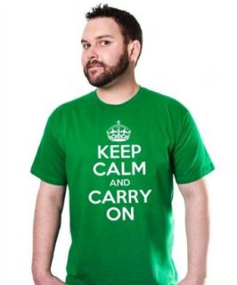 Keep Calm and Carry On T Shirt Green British Wwii Tee at  Men�s Clothing store Fashion T Shirts