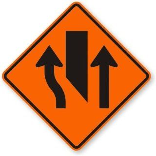 "Center Lane Closed Ahead, Fluorescent Orange Diamond Grade Reflective Aluminum Sign, 36"" x 36"""
