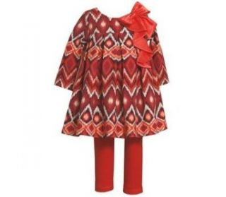 Bonnie Baby Baby Girls Infant Red Orange Zig Zag Pring Dress Outfit w/ Leggings, Orange, 6 9 Months Clothing