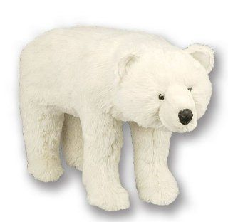 "27"" Soft Plush Standing White Polar Bear Stuffed Footrest Ottoman"