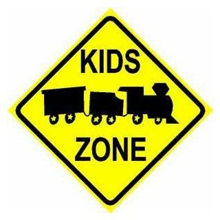 KIDS ZONE sign * street train family children   Yard Signs