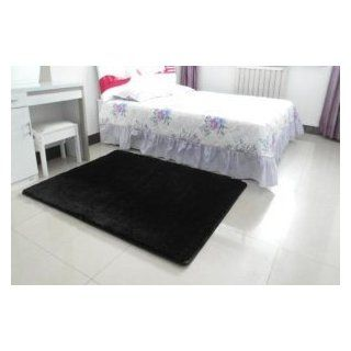 MBM (TM) Super Soft Modern Area Rugs Black Living Room Carpet Bedroom Rug Solid Home Decorator Floor Rug and Carpets 4  Feet By 5  Feet (black)