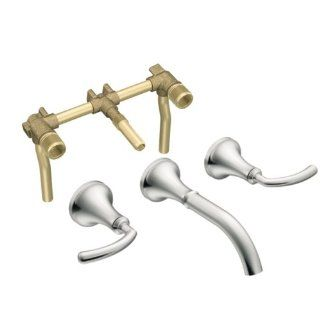 Moen T6530BB 9400 Icon Two Handle Low Arc Wall Mount Bathroom Faucet with Valve, Brushed Bronze   Touch On Bathroom Sink Faucets