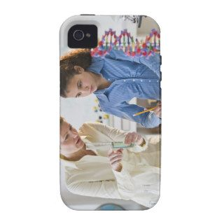 Teacher helping student in science lab vibe iPhone 4 covers