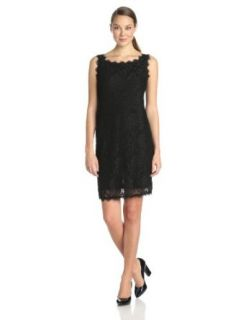 Tiana B Women's Sleeveless Stretch Lace Dress with High Square Neck and V Back