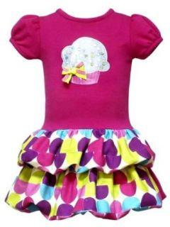 Rare Editions Baby Girls Infant Cupcake Double Bubble Hem Drop Waist Dress, Fuschia/Multi, 24 Months Infant And Toddler Dresses Clothing