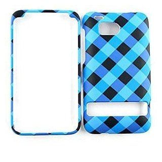 HTC Incredible HD Blue / Black Plaid HARD PROTECTOR COVER CASE / SNAP ON PERFECT FIT CASE Cell Phones & Accessories