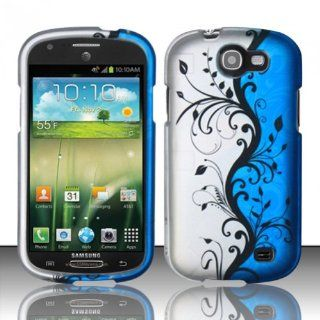 Blue Silver Floral Hard Cover Case for Samsung Galaxy Express SGH I437 Cell Phones & Accessories