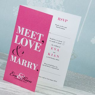 meet love marry three fold wedding invitation by love wedding print