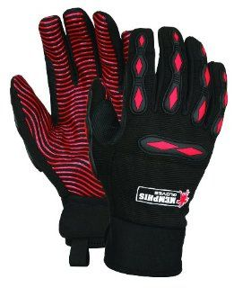 MCR Safety 908L Memphis Synthetic Palm Multi Task Gloves with Adjustable Wrist Closure, Red/Black, Large, 1 Pair   Work Gloves
