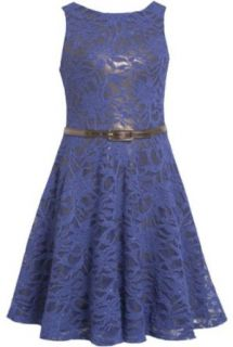 Royal Blue Belted Sequin Sparkle Lace Overlay Dress RY4MU Bonnie Jean Tween Girls Special Occasion Flower Girl Holiday BNJ Social Dress, Royal Clothing