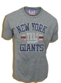 NFL Football New York Giants True Vintage Distressed Triblend Heather Gray Adult T shirt Tee (X Large) Clothing