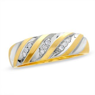 Mens 1/8 CT. T.W. Diamond Wedding Band in 10K Two Tone Gold   Zales