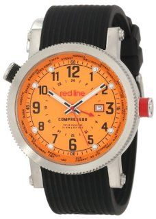 red line Men's RL 18003 06BK Compressor World Time Orange Dial Black Silicone Watch Watches