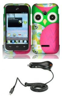 Huawei Prism 2 U8686 / Inspira H867G / Glory H868C   Bundle Pack   Hot Pink and Green Owl Design Shield Case + Atom LED Keychain Light + Micro USB Car Charger Cell Phones & Accessories