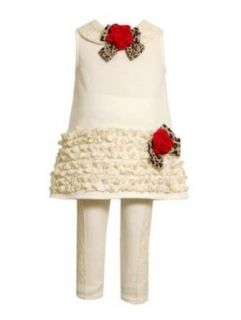 Bonnie Jean Baby Girls Knit Lace Flower Fall Dress Outfit Set, Ivory, 2T Clothing