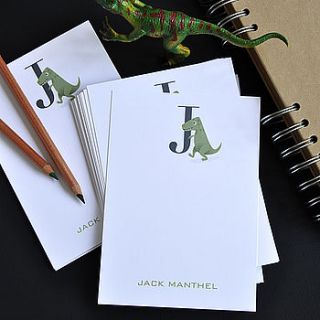25 dinosaur monogram note cards by the note studio