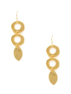Gold Double Circle & Leaf Drop Earrings by Wendy Mink