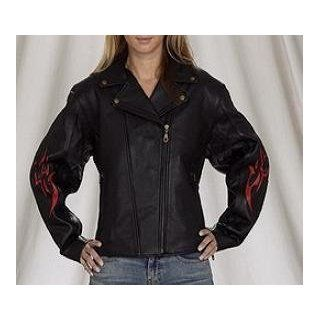 Women's Leather Motorcycle Jacket with Flames & Insulated Zip Out Lining, Womens Leather Jackets Available in all sizes, Size  3XL, XXX Large, 16 to 18 Automotive