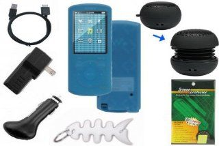Premium Bundle for Sony Walkman NWZ E463 NWZ E464 NWZ E465 4GB 8GB 16GB  Player includes Blue Silicone Skin Cases, LCD Screen Protector, USB Wall Charger, USB Car Charger, 2in1 USB Data Cable, Mini Portable Capsule Speaker and Fishbone Style Keychain