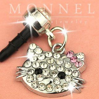 Ip467 Cute Crystal Hello Kitty Head Anti Dust Plug Cover Charm for Iphone Android 3.5mm Cell Phones & Accessories