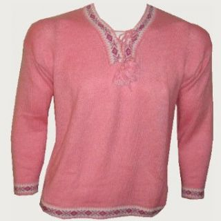 NEW ARRIVAL PERUVIAN ALPACA WOOL WOMENS SWEATER INDU VNECK DESIGN PINK WARM & SOFT (Large) Pullover Sweaters