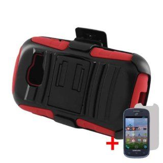 SAMSUNG GALAXY CENTURA S738C BLACK RED BELT CLIP HOLSTER CASE HYBRID KICKSTAND COVER + SCREEN PROTECTOR from [ACCESSORY ARENA] Cell Phones & Accessories