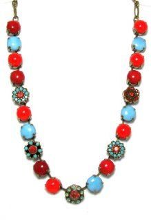 "Mariana Antique Gold Plated "" Gypsy Soul"" Collection Choker Swarovski Crystal and Bead Necklace in Coral Red and Turquoise Jewelry"