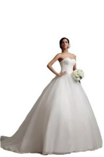 Winey Bridal White Bow Strapless Lace Pearls Dropped Ball Gown Wedding Bridal Dresses