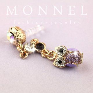 Ip486 Cute Purple OWL Dust Proof Phone Plug Cover Charm for Iphone Smart Phone Cell Phones & Accessories