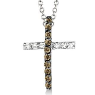 Champagne and White Diamond Cross Pendant Necklace 14k White Gold (0.25ct) Allurez Jewelry