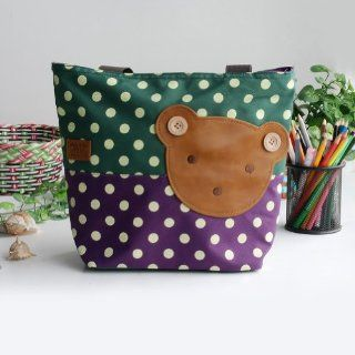 [Bear Green] Blancho Applique Kids Fabric Art Tote Bag/Shopper Bag Middile size (13.3*5.1*10.6)  Baby