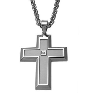 Mens Diamond Accent Cross Pendant in Stainless Steel   24   Zales