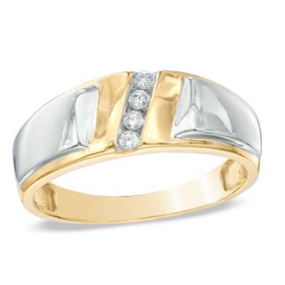 Mens Diamond Accent Slant Wedding Band in 10K Two Tone Gold   Zales
