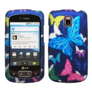 Purple Pink Yellow Green Blue Butterfly Design Rubberized Snap on Hard Shell Cover Protector Faceplate Cell Phone Case for T Mobile LG Optimus T P509 / LG Thrive / AT&T LG Phoenix P505 + Clear LCD Screen Guard Film Cell Phones & Accessories