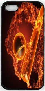 Rikki KnightTM Fiery Baseball With Bat On Black Background Design iPhone 5 & 5s Case Cover (Black Rubber with bumper protection) for Apple iPhone 5 & 5s Cell Phones & Accessories