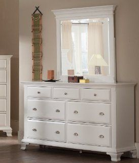 Roundhill Furniture Laveno 012 White Wood 7 Drawer Dresser and Mirror   Assembled White Dresser