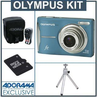 Olympus FE 46 12 MP Digital Camera Kit,   Light Blue   with 4 GB Micro SD Memory Card, Table Top Tripod, Camera Case, 4 AA Ni MH Batteries with Charger  Point And Shoot Digital Cameras  Camera & Photo