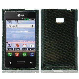 Bundle Accessory for Straight Talk Net 10 LG Optimus Logic L35g Dynamic L38c   Black Carbon Fiber Print Designer Protective Hard Case Snap On Cover + MyDroid Transparent/Clear Decal Cell Phones & Accessories