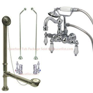 Chrome Wall Mount Clawfoot Tub Faucet w hand shower Package   Bathtub Faucets
