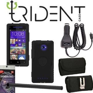 HTC Accord Windows 8x Phone Trident Aegis Black Heavy Duty Rugged Case, Hard Shell and Silicone Gel, with Screen Protector and Car Charger, Stylus Pen, Radiation Shield and Horizontal Metal Clip Case that fits your phone with the Cover on it. Cell Phones