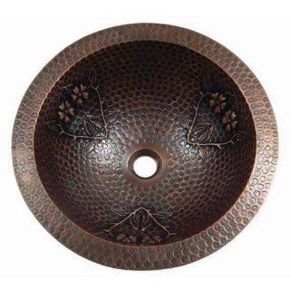 Yosemite Home Decor CSB1228 16 Gauge Flower and Thorn Design Top/Undermount Round Vessel Sink, 17 by 17 by 6 Inch, Solid Copper