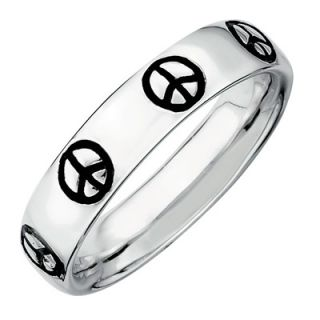 Stackable Expressions™ Polished and Enameled Motif Peace Sign Ring