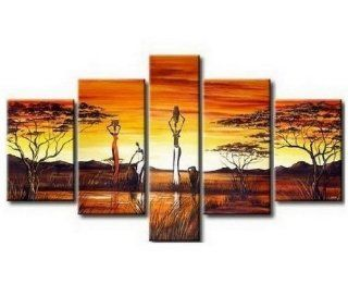 100% Hand Painted African Painting Oil Painting 5 Piece Wall Art Large Group Painting Wall Art for Home Decoration  Gallery Wrapped Ready to Hang