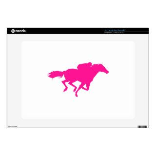 "Hot Pink Horse Racing; Race Horse 15"" Laptop Skin"