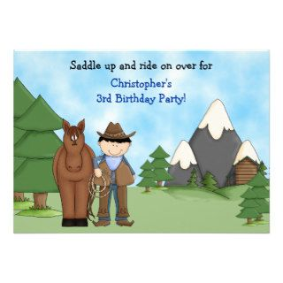 Cowboy, Horse and Mountains Birthday Invitation
