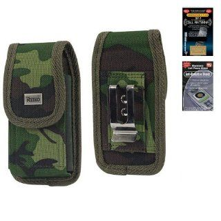 Nokia Lumia 520 Camouflage Vertical Heavy Duty Rugged Canvas Case with Clip Closure and Metal Clip on the back. Also has canvas belt loop underneath the clip. Great for Hiking, Camping, Outdoor and Construction Work (Plus Size will Fit w/ Otterbox Commuter