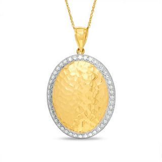14K Two Tone Gold Oval Hammered Pendant   Zales