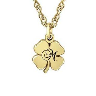 Four Leaf Clover Initial Pendant in Sterling Silver with 14K Gold